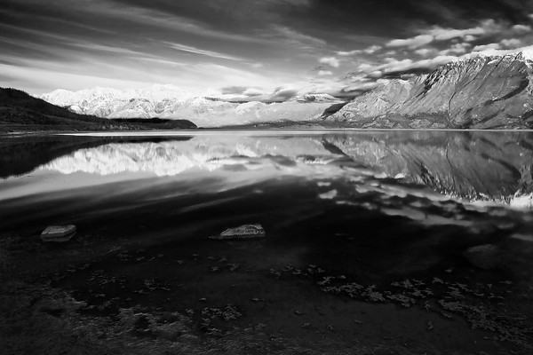 Canada, Yukon, Alaska Highway, Kluane Lake, Sunrise, Reflection, Destruction Bay , Black & White,  加拿大, 育空, 阿拉斯加高速公路