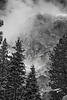 California, Yosemite National Park, El Capitan, Winter, Snow Black White Landscape Art    , 