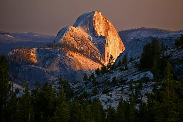 California, Eastern Sierra, Half Dome, Sunset, 加利福尼亚; 优胜美地国家公园