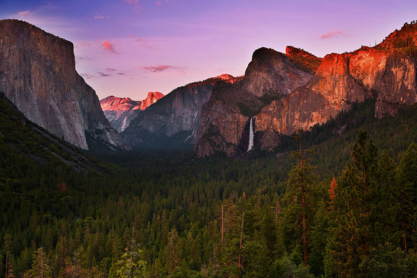 California, Yosemite National Park, Valey View, Sunset, 加利福尼亚 优胜美地国家公园, 日落