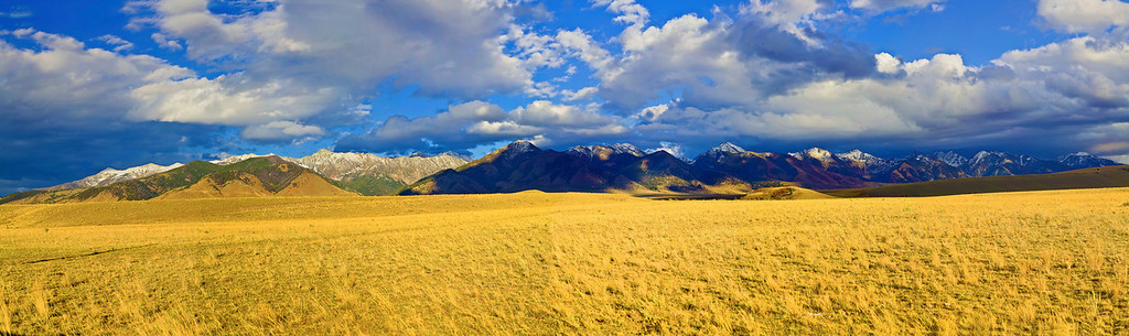 Panorama (Size 18348 x 5462,merged x6), Montana, Metcalf Wildness, Koch Peak, 蒙大纳,高原风光,全景摄影