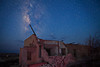 Texas, Ghost Town, Ruins, Terlingua, Milky Way, Galaxy, Dawn Twilight, Landscape, , , , 