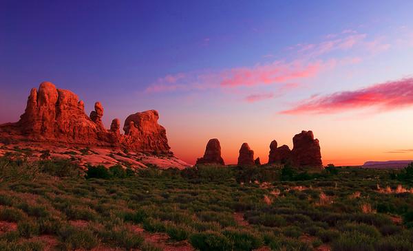 Utah, Arches National Park, The windows, sunset, La Sal Mountains, 犹他州,拱门国家公园