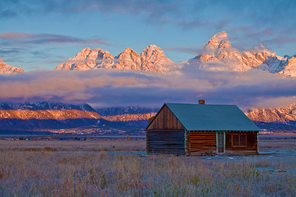 Wyoming, Grand Teton National Park, Mormon Barns , Sunrise, Fall Colors, 怀俄明, 大提顿国家公园, 日出,秋色