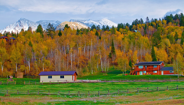 Wyoming, Alpine Junction, Fall Colors, Sunset, 怀俄明, 秋色