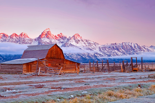 Wyoming, Grand Teton National Park, Mormon Barns, Sunrise, Fall Colors, 怀俄明, 大提顿国家公园, 日出