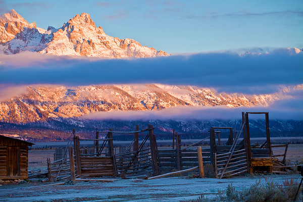 Wyoming, Grand Teton National Park, Mormon Barns , Sunrise, Fall Colors, 怀俄明, 大提顿国家公园, 日出