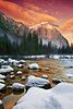 California, Yosemite National Park, El Capitan, Winter, Snow, Sunset Landscape     
