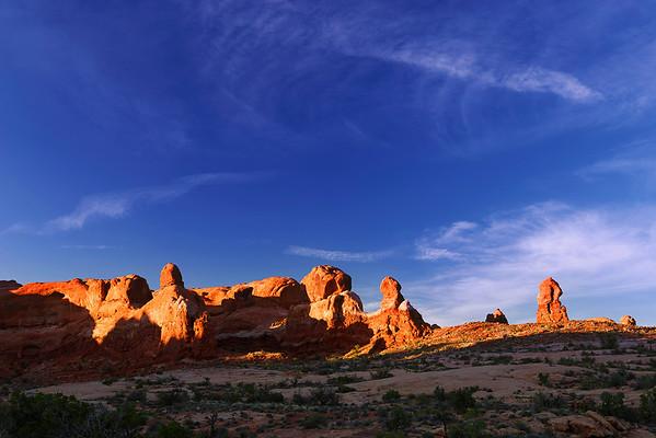 South Utah,  Arches National Park, Rock Pinnacles, Sunset