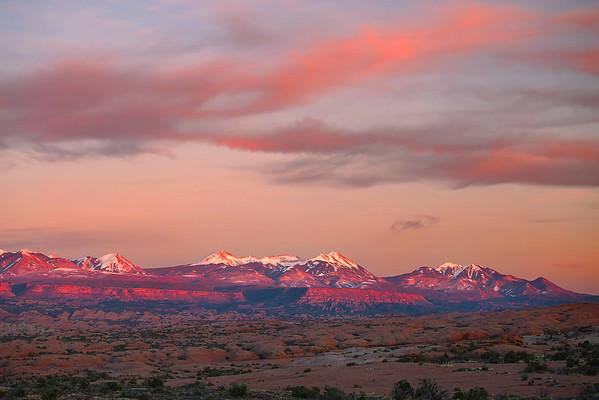 Utah, Arches National Park, sunset, La Sal Mountains,  犹他州,拱门国家公园