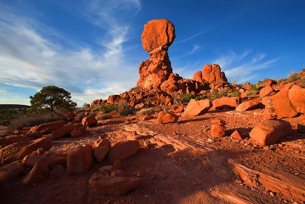 Utah, Arches National Park, Balanced Rocks, Sunset,  犹他州,拱门国家公园