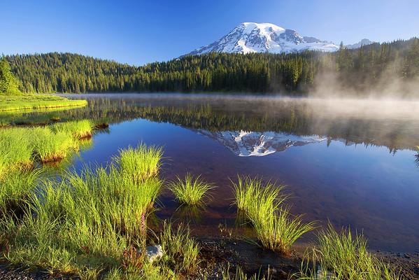 Washington, Mount Rainier,  Reflection Lakes, National Park, Reflection, Sunrise,  华盛顿州,国家公园