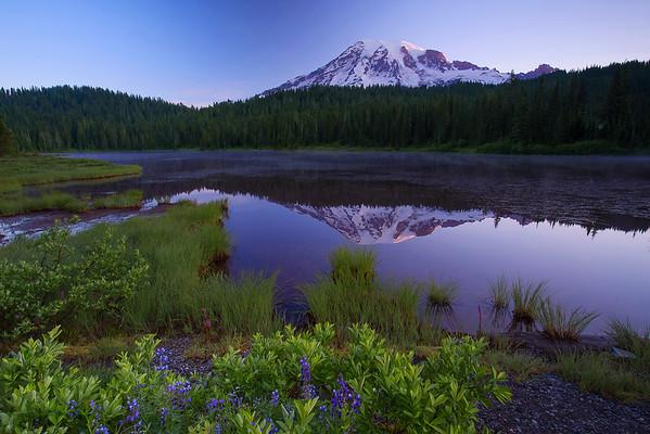 Washington, Mount Rainier,  Reflection Lakes, National Park, Reflection, Sunrise, Dawn,  华盛顿州,国家公园